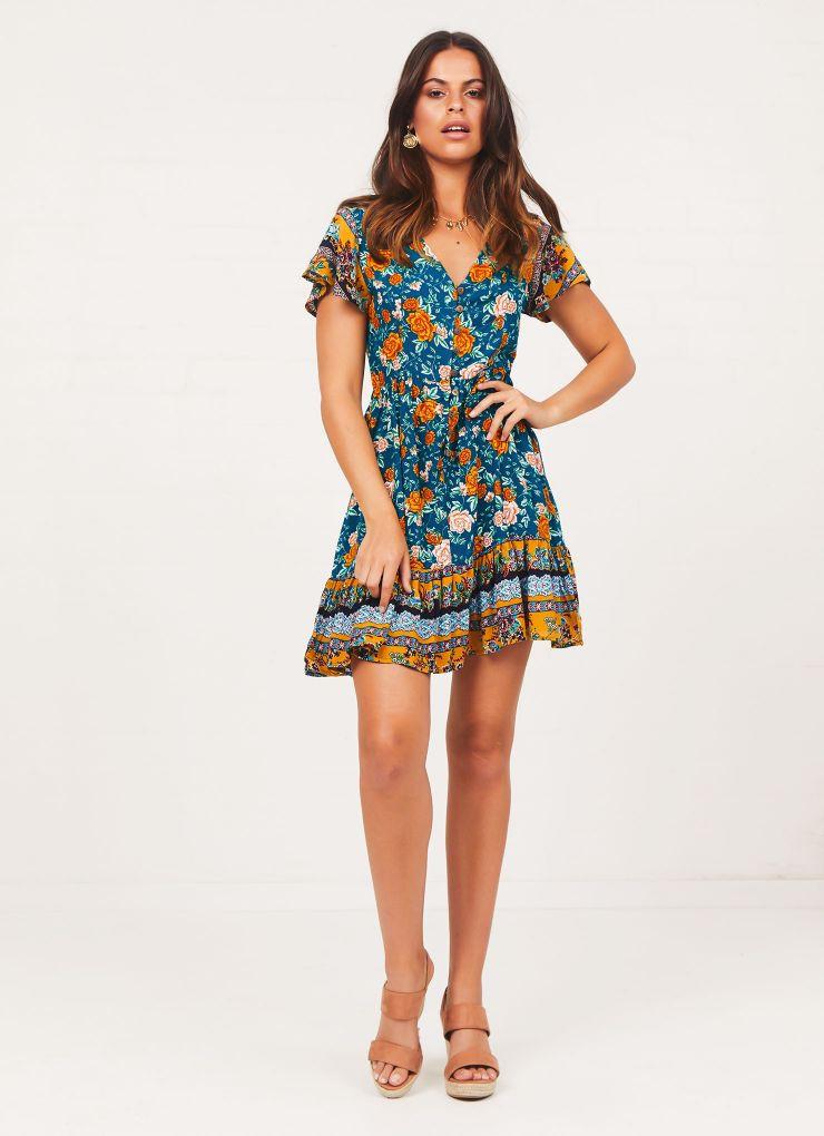 Cynthia Dress - Green Floral A$48.71 A$64.95