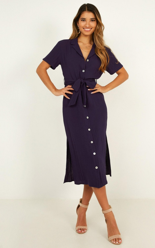 Morning Stroll Dress In Navy Linen Look Price: AU$74.95