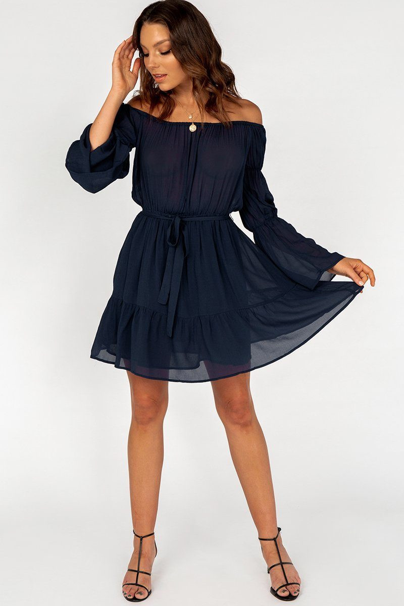 CHECKED OUT INK OFF SHOULDER DRESS DISSH EXCLUSIVE  Regular price $99.99 $49.00