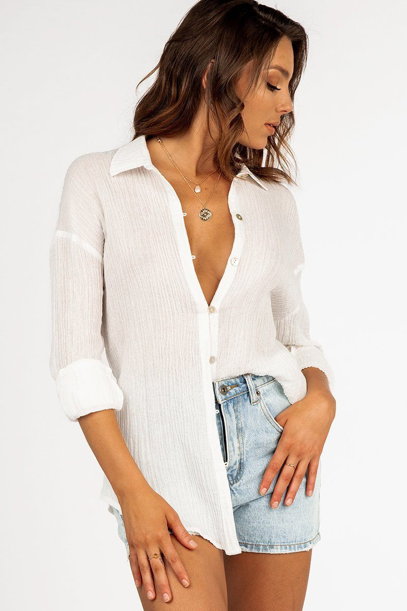 MY TURN WHITE SHELL BUTTON SHIRT DISSH EXCLUSIVE  $69.99