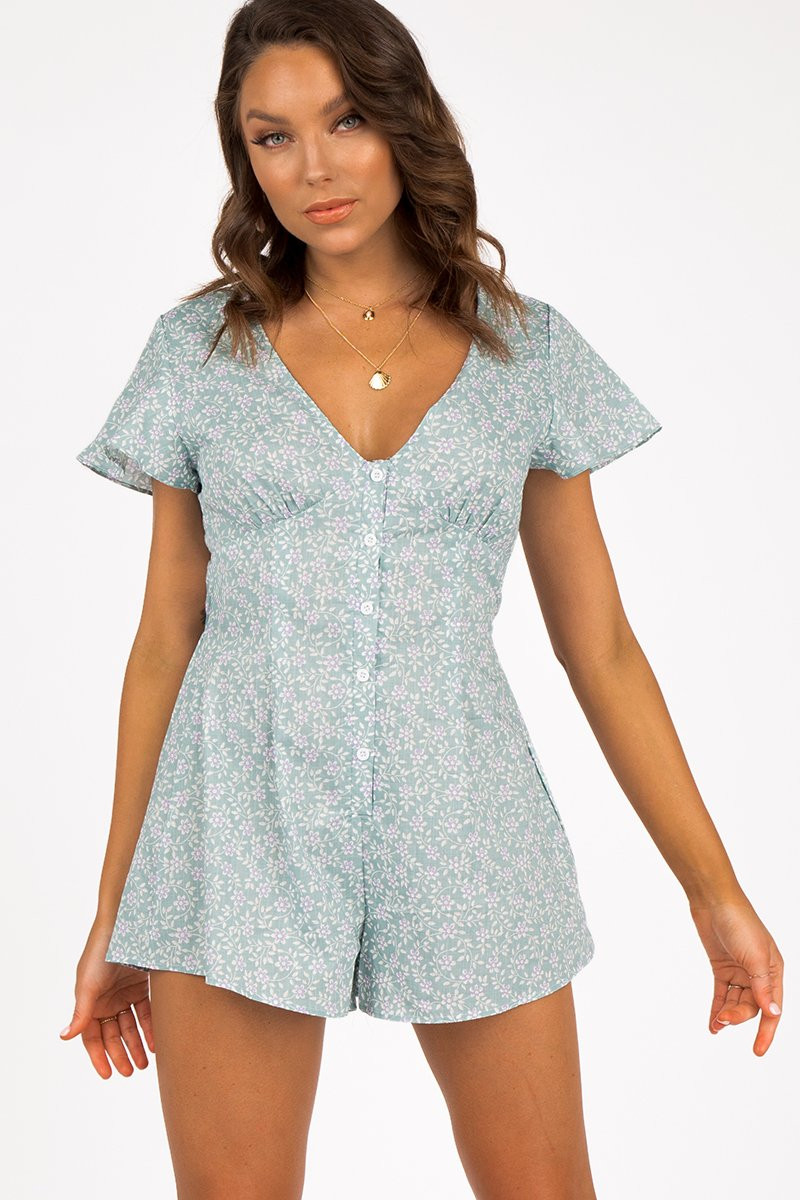 ORCHIDS GREEN FLORAL PLAYSUIT ONLINE ONLY $59.99