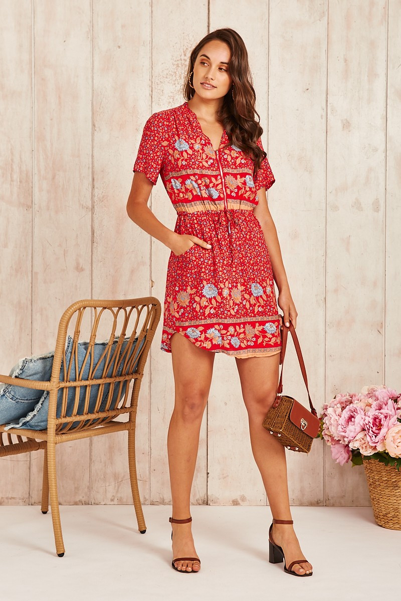 Now Or Never Dress In Red With Blue Floral Special Price $45.00 (Was $64.90)