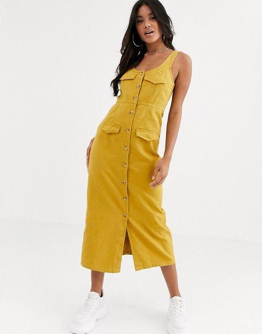 ASOS DESIGN denim button down midi dress in mustard $41.50$64.00