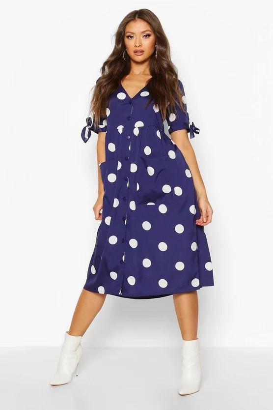 Large Polka Dot Button Midi Smock Dress