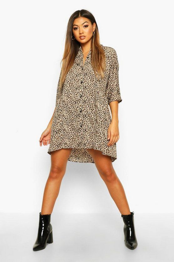 Leopard Button Through 3/4 Sleeve Smock Dress