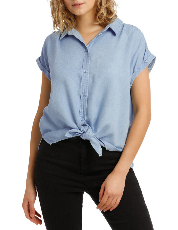 Chambray Tie Front Short Sleeve Shirt $49.95
