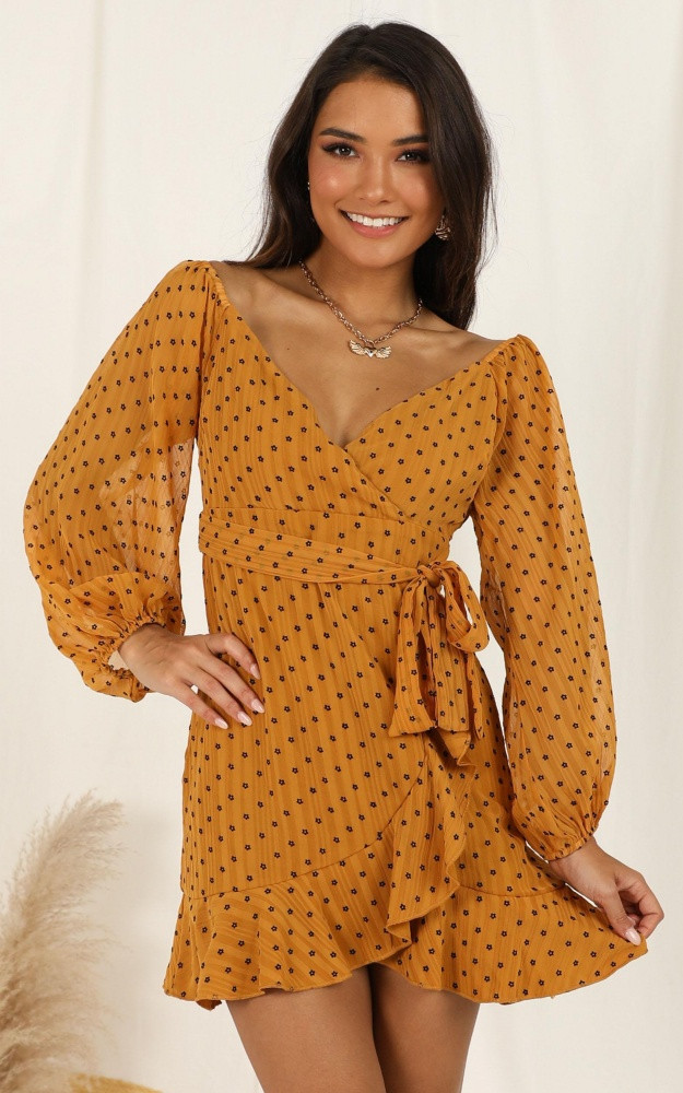 You Are Such A Dream Dress In Mustard Flocked Spot $79.95