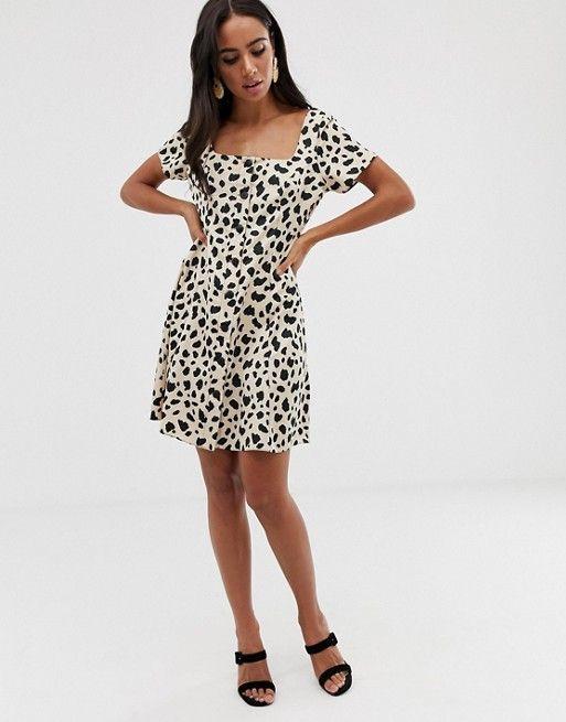 ASOS DESIGN button through mini skater dress in leopard print $24.00$60.00