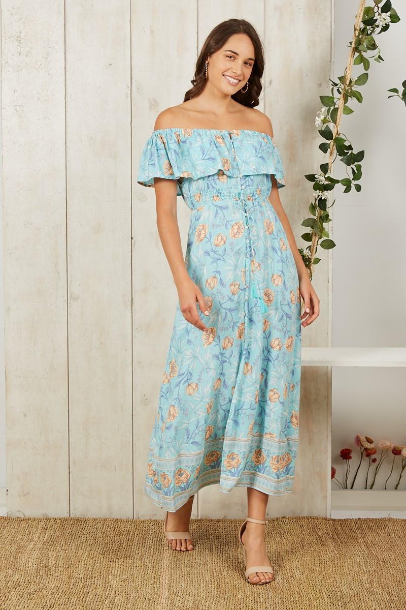 Seafoam Maxi Dress In Blue With Beige Floral $79.90