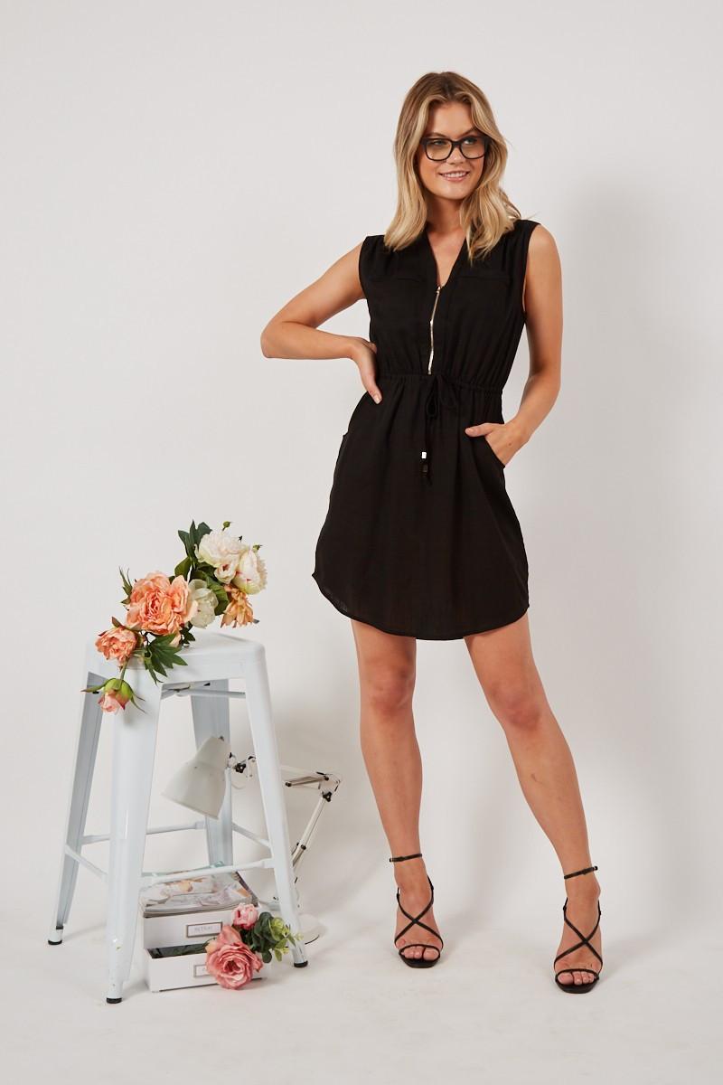 Downtown Dress In Black Linen $59.90