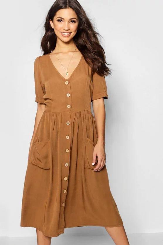 Button Front Pocket Detail Midi Dress