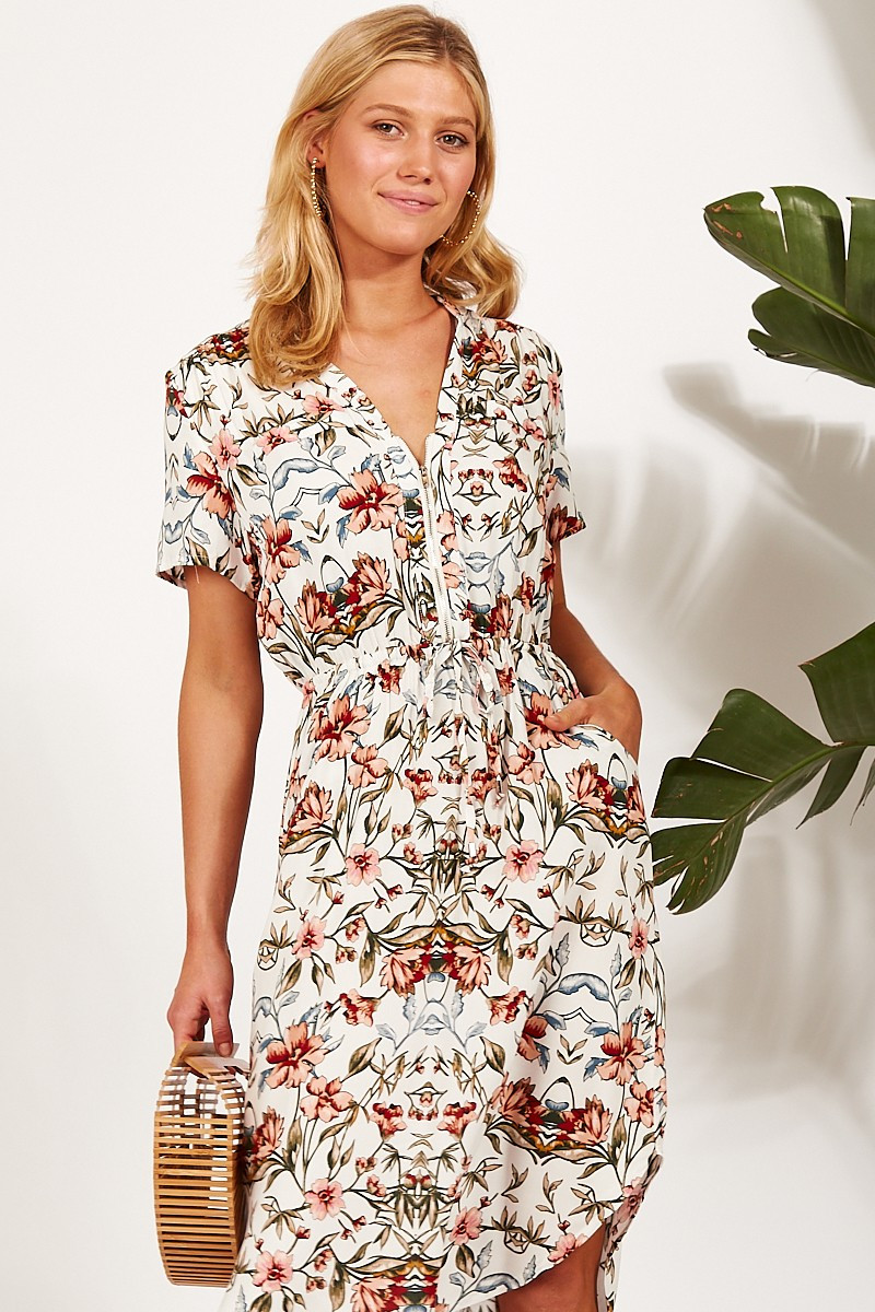 Go Getter Dress In White With Blush Floral $79.90