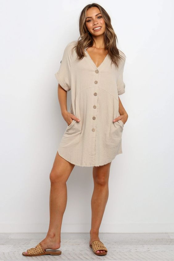 Sariah Dress - Beige $69.95