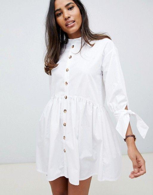 ASOS DESIGN grandad collar button through mini smock dress with tie sleeve $60.00