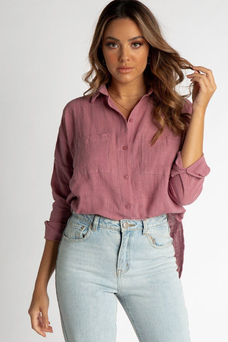 FREE LIVING BUTTON UP SHIRT ROSE DISSH EXCLUSIVE  $49.99