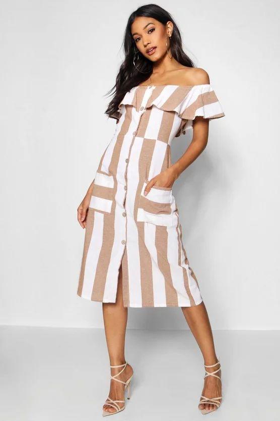 Off The Shoulder Wide Stripe Midi Dress