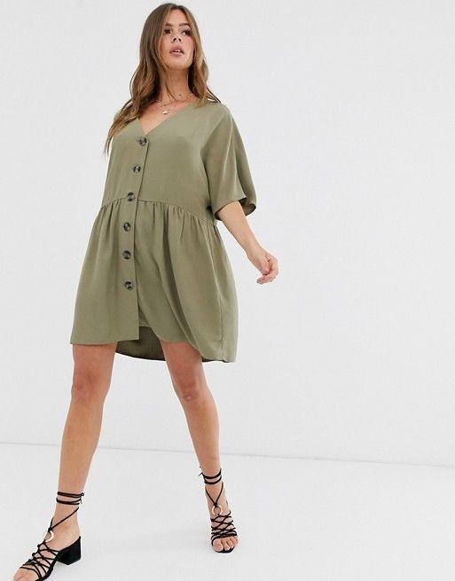 ASOS DESIGN v neck button through mini smock dress $39.00$60.00