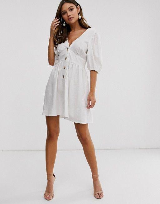ASOS DESIGN button through linen mini dress with cross back $48.00$64.00
