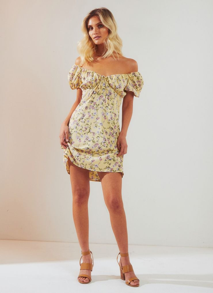 Femme Fatale Dress - Yellow Floral A$79.95