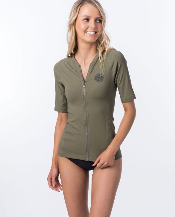Premium Rib Zip Thru Short Sleeve UV Tee Rash Vest $69.99