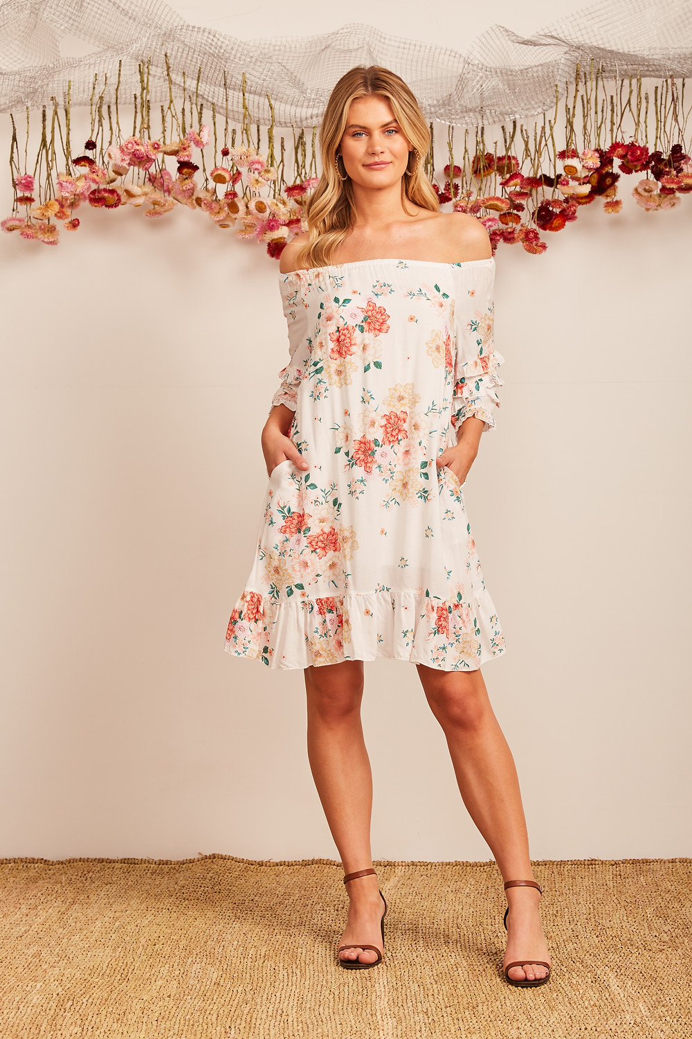 Elliott Dress In White With Pink Floral Special Price $34.00  $69.90