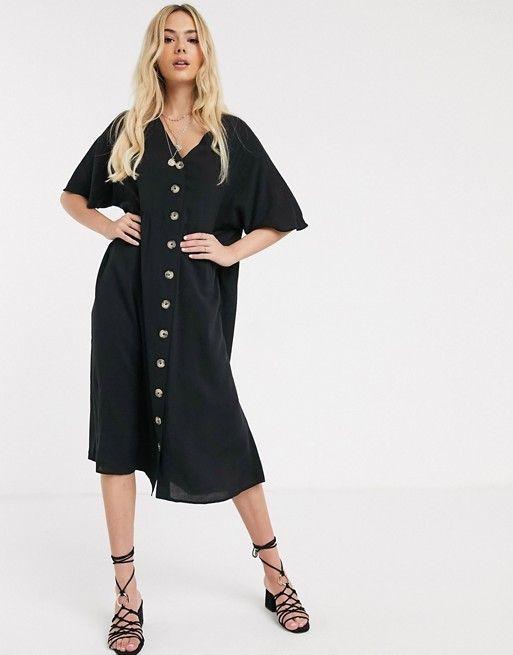 ASOS DESIGN v neck button through midi smock dress $64.00