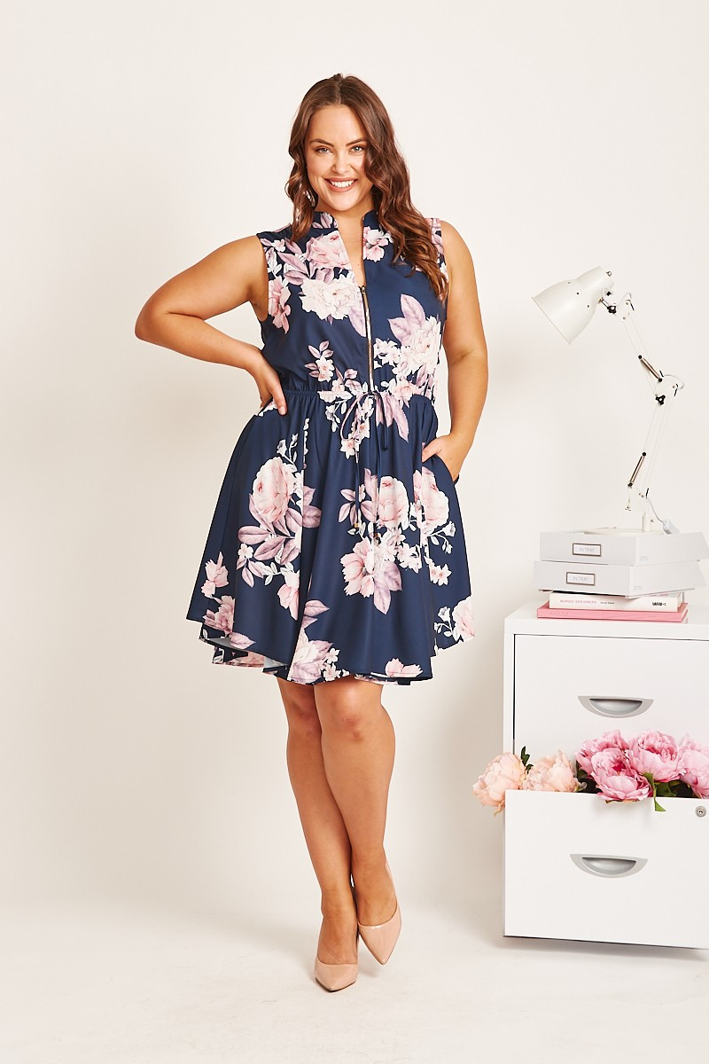Danica Dress In Navy With Blush Floral $69.90