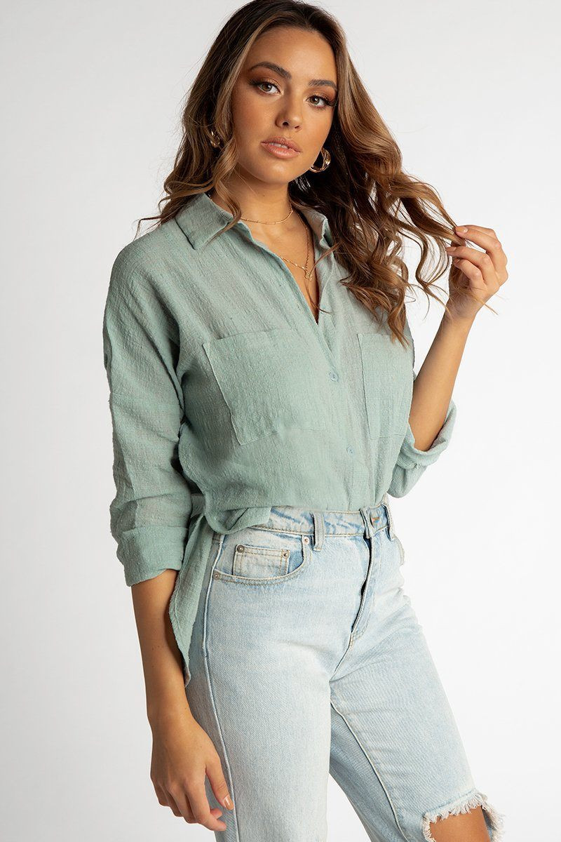 FREE LIVING BUTTON UP SHIRT MINT DISSH EXCLUSIVE  $49.99