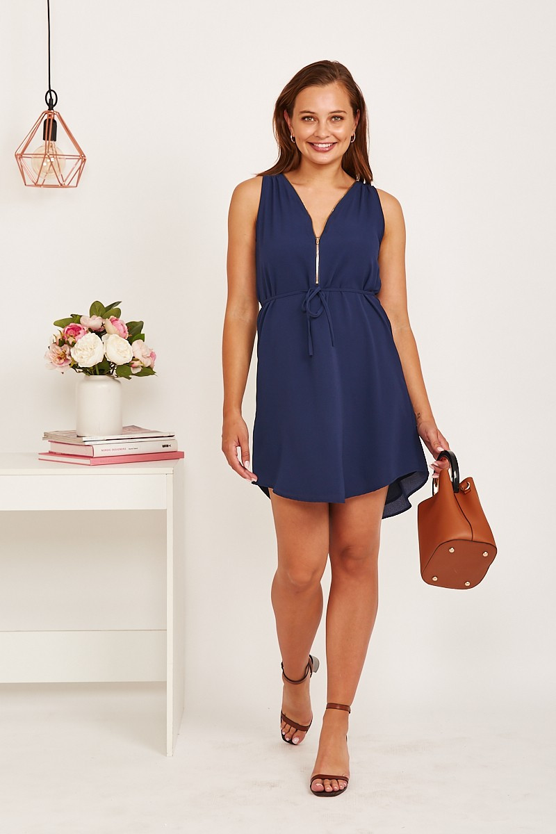 Grecia Dress In Navy Special Price $29.00 (Was $59.90)