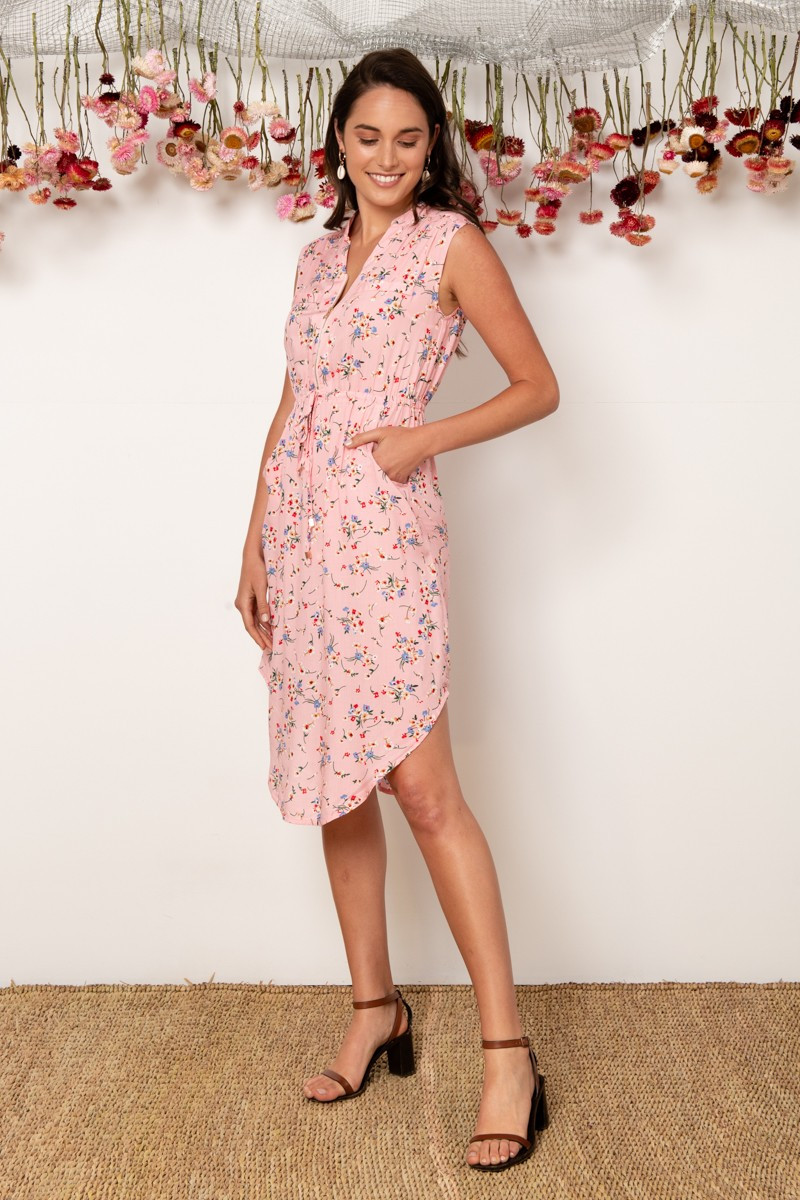 Shire Dress In Pink With Beige Floral $69.90