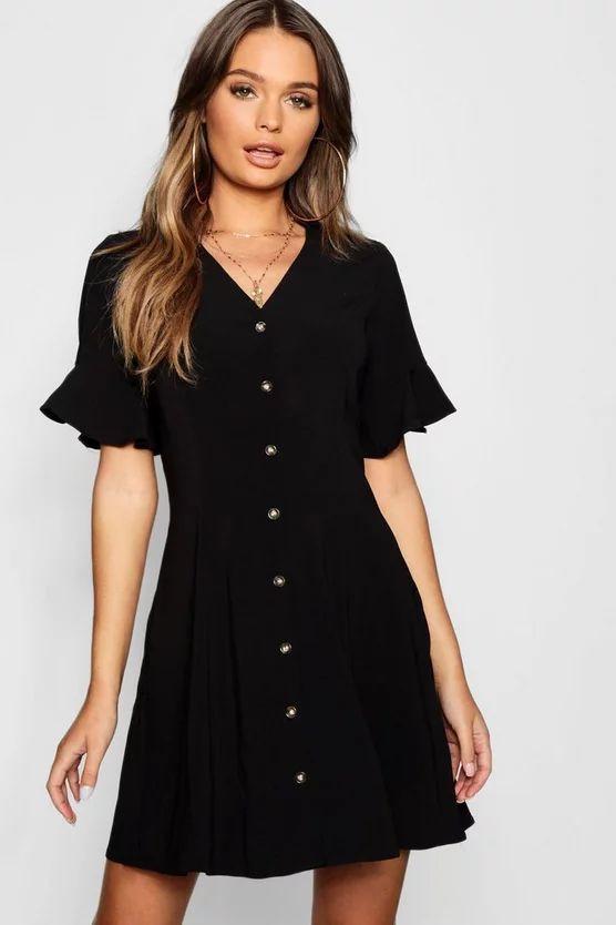 Button Through Flared Sleeve Shift Dress
