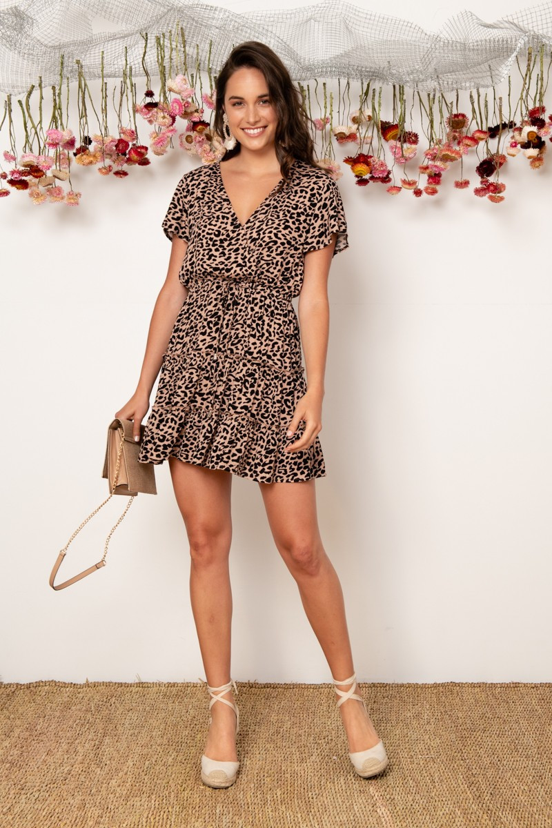 Pisces Dress In Taupe Leopard Print $64.90