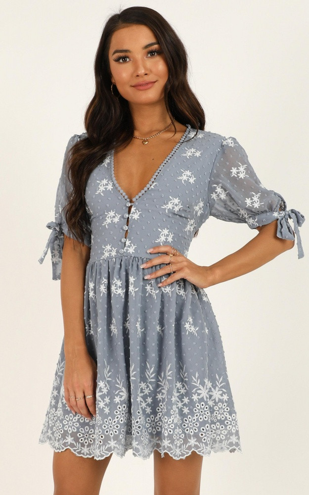 See The World Dress In Light Blue Embroidery $74.95