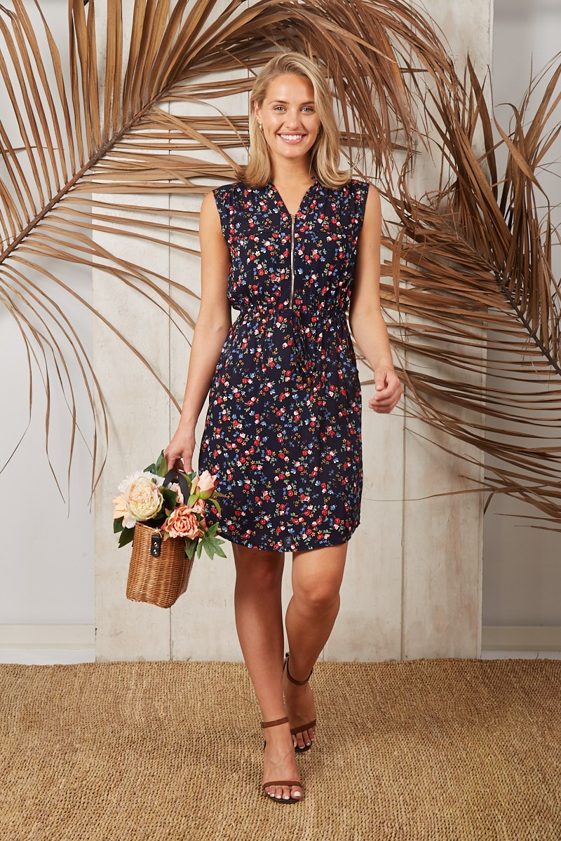 Downtown Dress In Navy With Red Floral $59.90