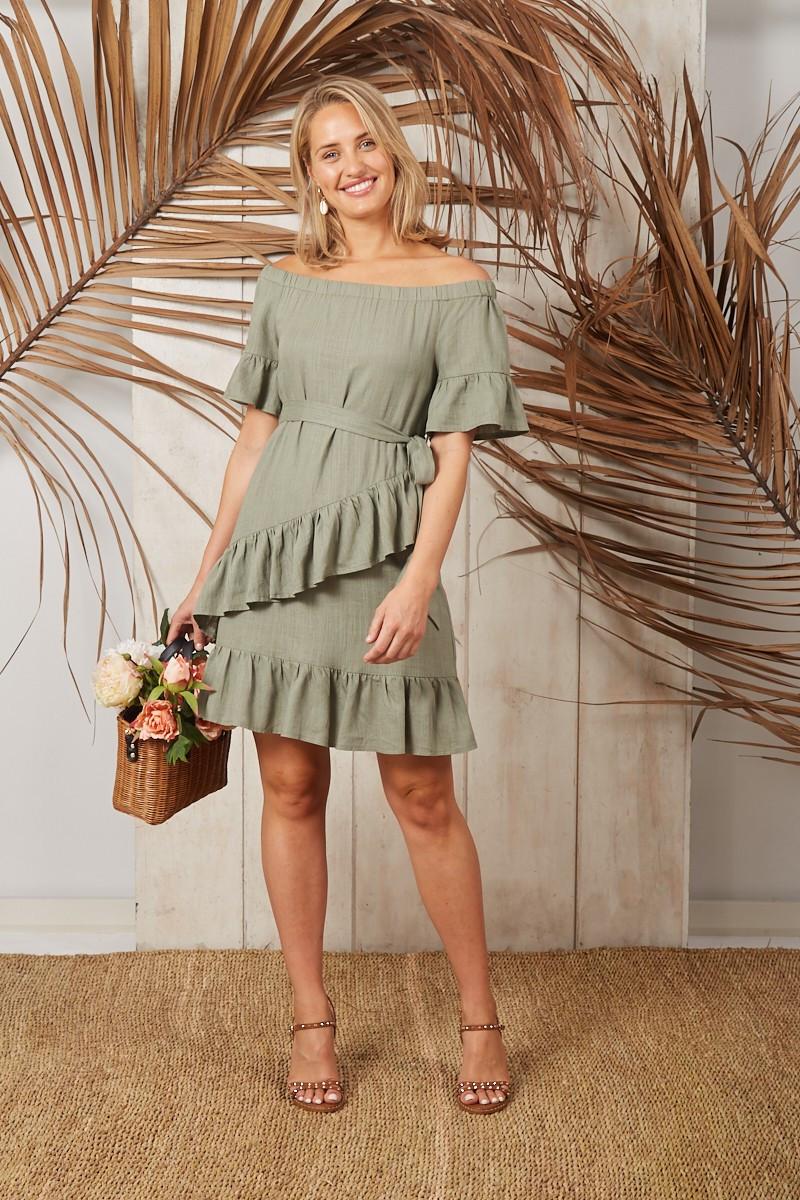 Bon Bon Linen Dress In Khaki $69.90
