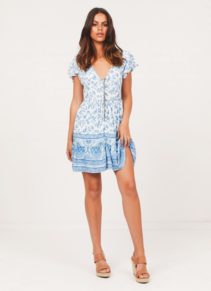 Saltwater Dress - Blue Floral Now $55.96 (Was $69.95)