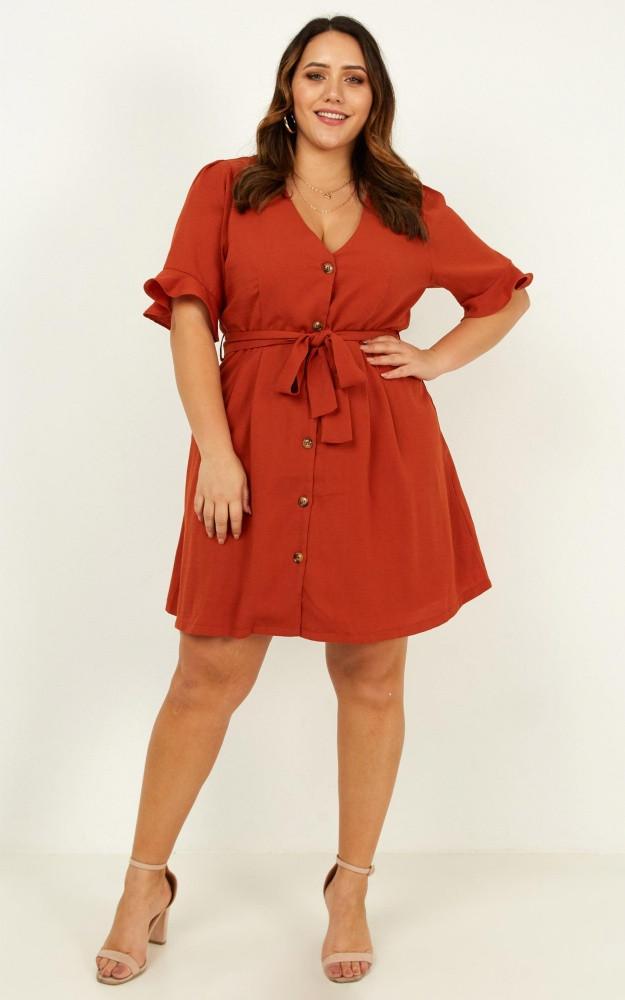 New Start Dress In Rust $69.95