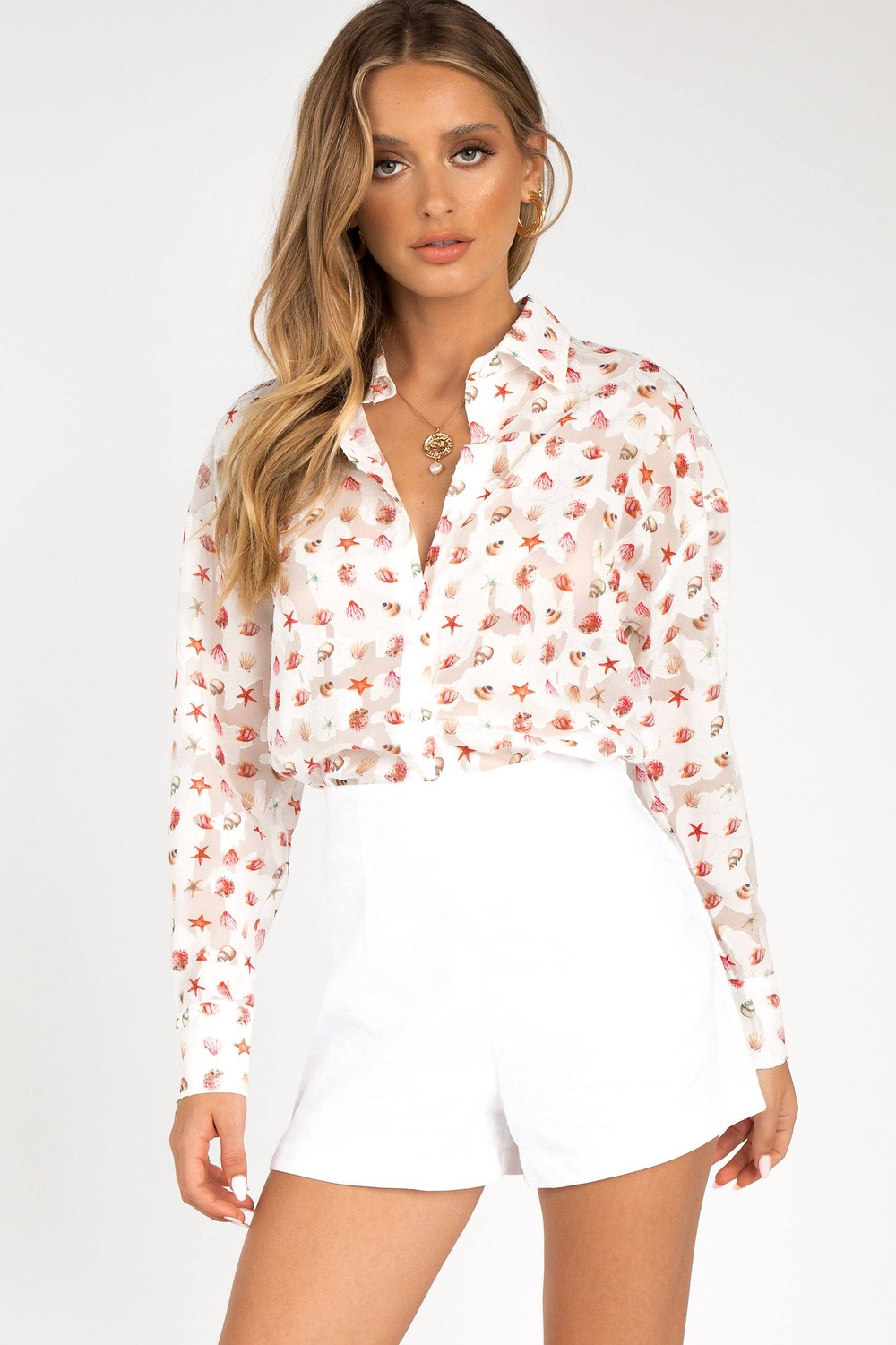 DRIFTWOOD WHITE SHELL SHIRT DISSH EXCLUSIVE  $59.99