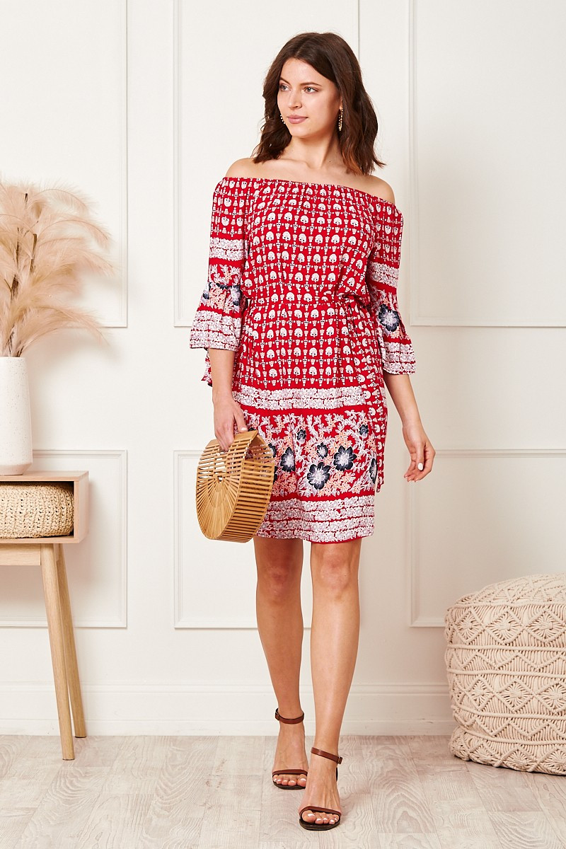 Sasha Dress In Red Paisley Special Price $20.00  $69.90