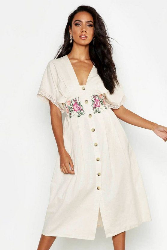 Embroidered Linen Button Front Midi Dress