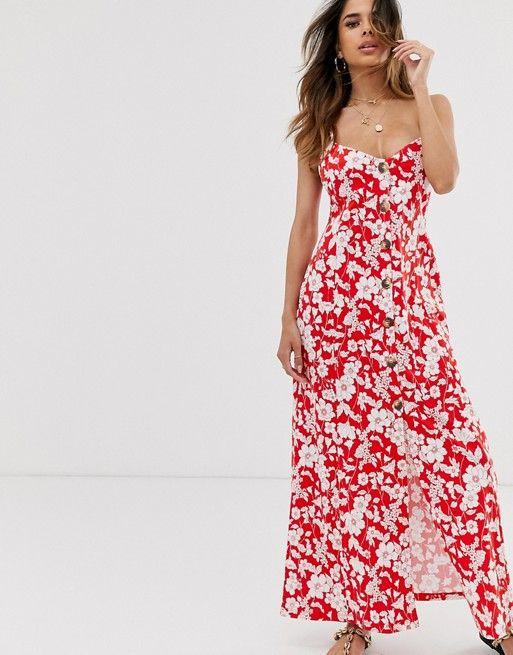 ASOS DESIGN button through maxi dress in red floral print $50.00