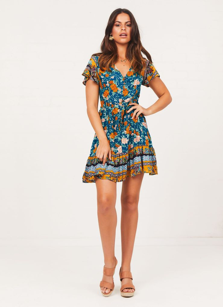 Cynthia Dress - Green Floral Now $45.47 (Was $64.95)