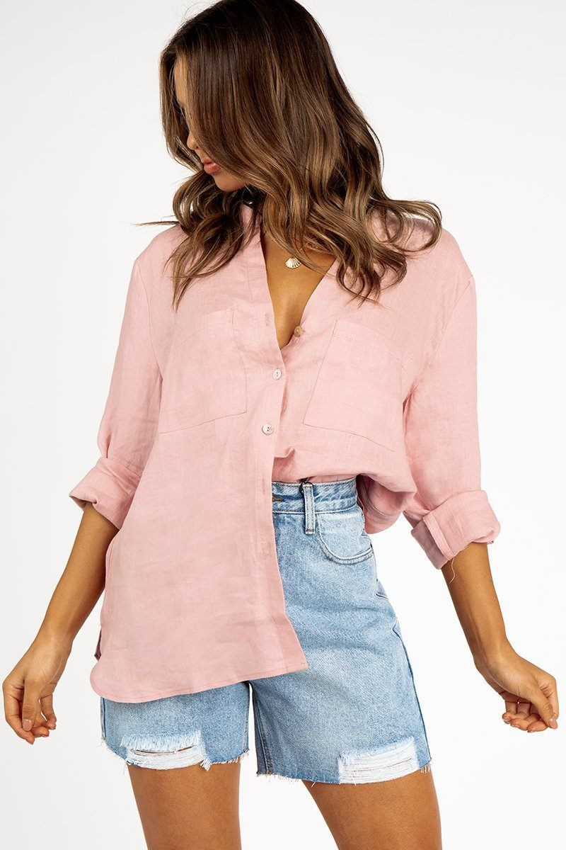 JOURNEY PINK LINEN SHIRT DISSH EXCLUSIVE  $79.99