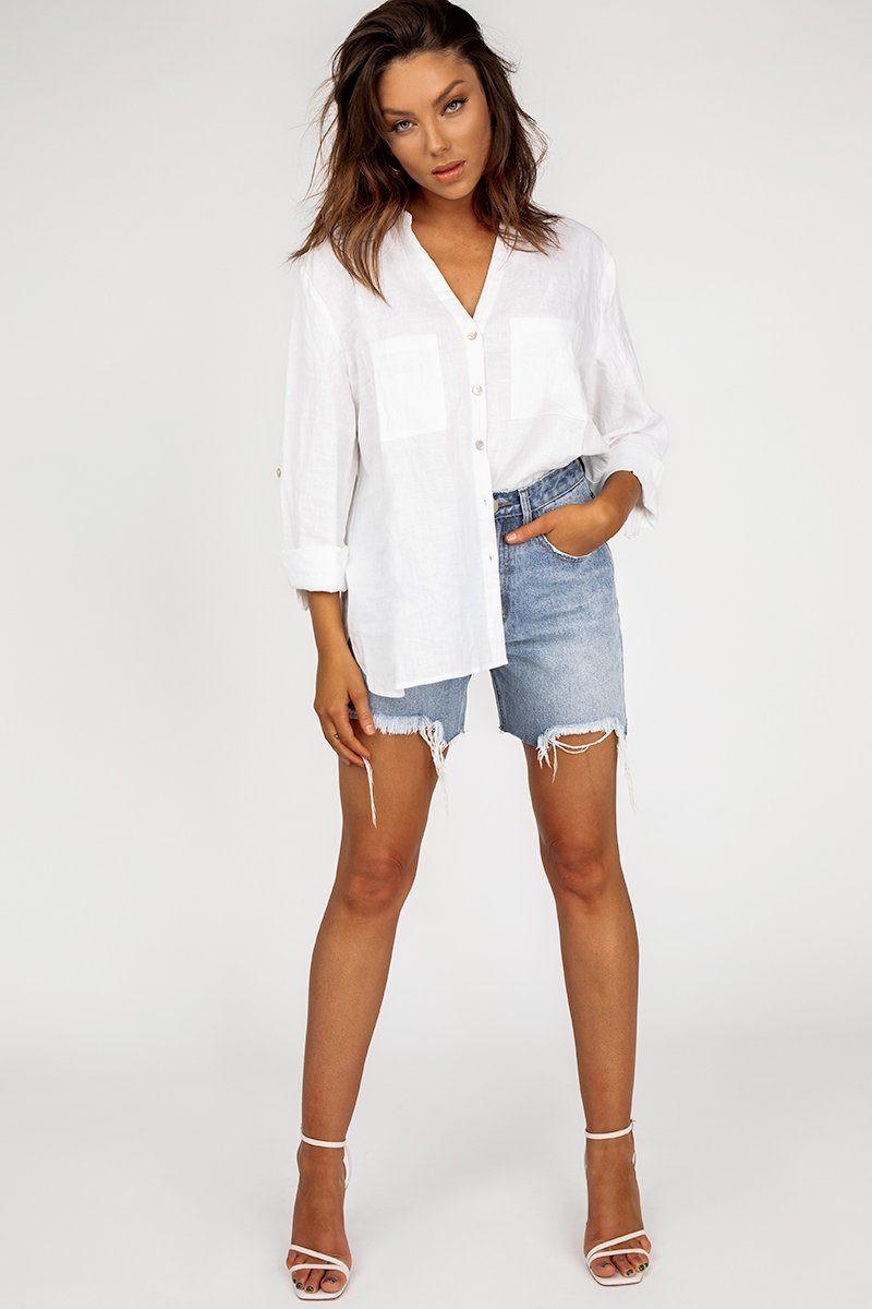 JOURNEY WHITE LINEN SHIRT DISSH EXCLUSIVE  Regular price $79.99 $59.00