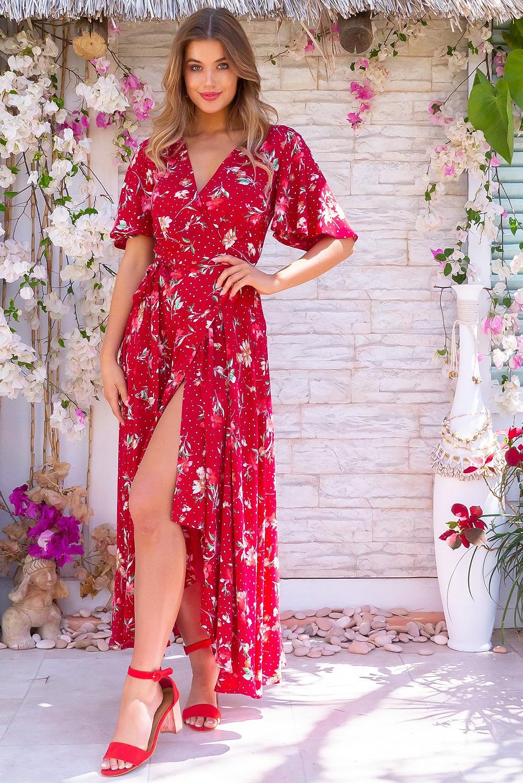 Petal Summer Red Maxi Wrap Dress $89.99