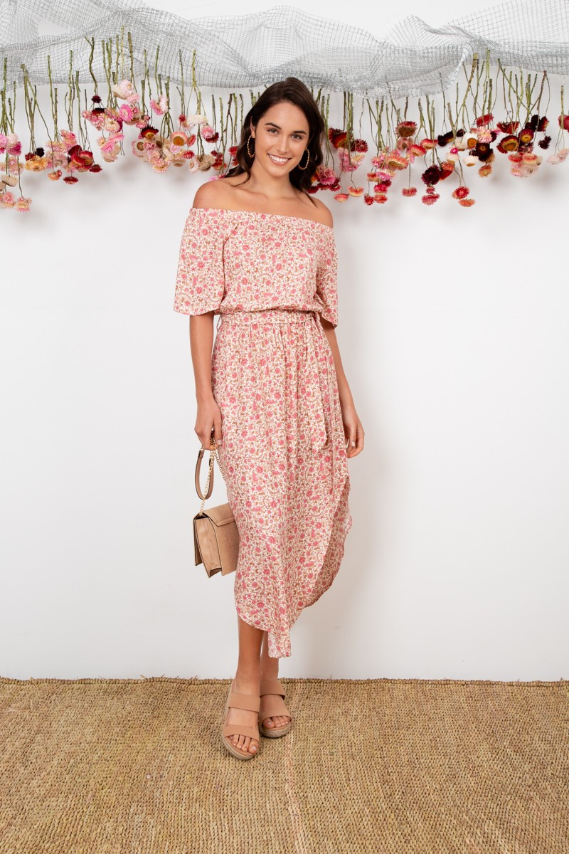 Hummingbird Dress In Beige With Pink Floral $69.90