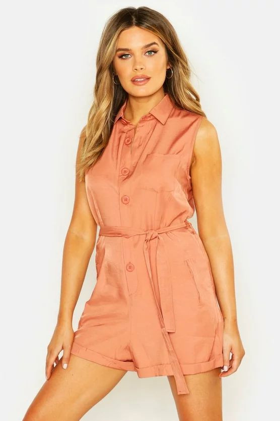 Button Through Turn Up Playsuit