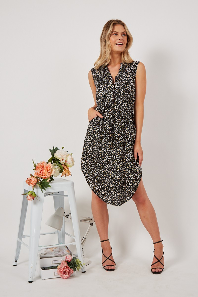 Shire Dress In Navy With Small White And Yellow Floral $69.90