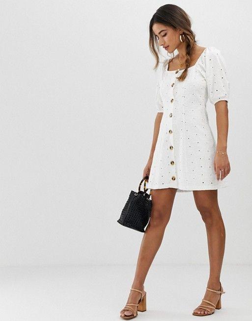 ASOS DESIGN button through broderie tea dress $31.50$70.00
