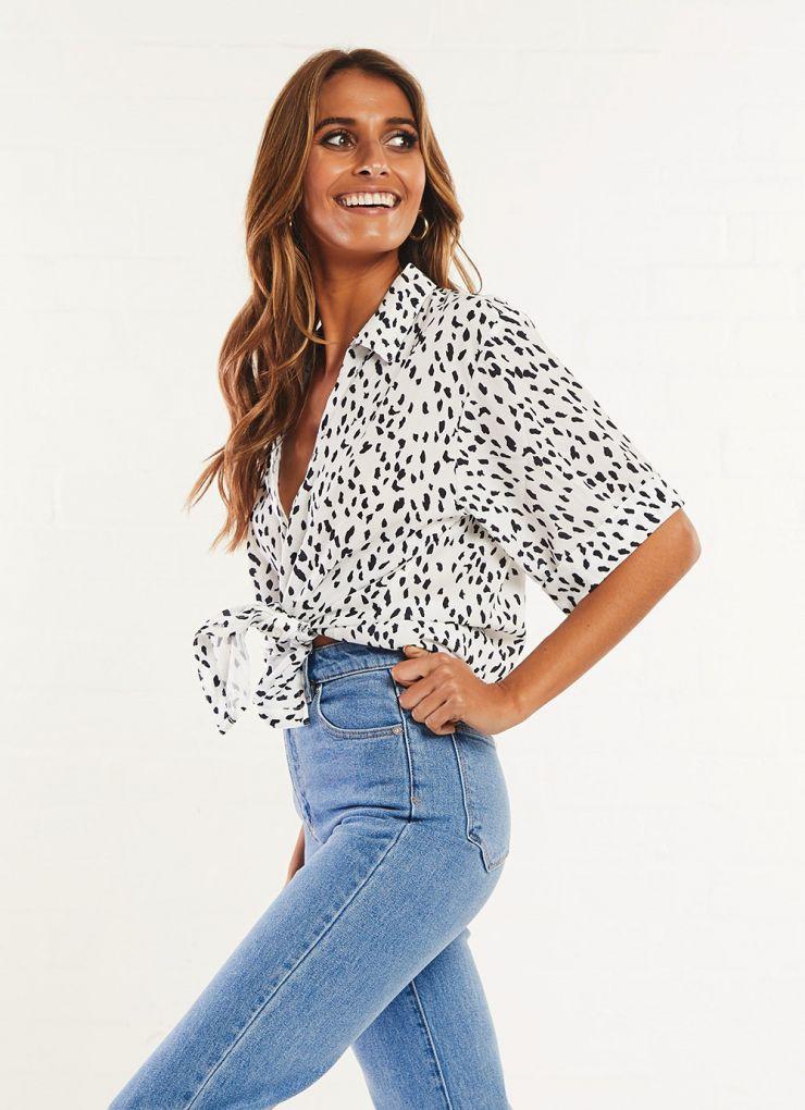Winfrey Shirt - White & Black Speckle A$49.95